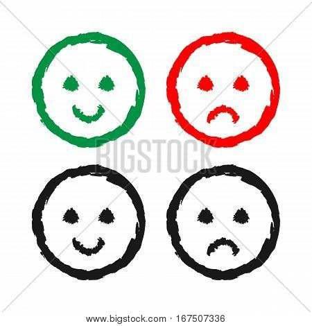 Set of cheerful and sad smiles. Drawing a rough brush. Grunge. Green red black.