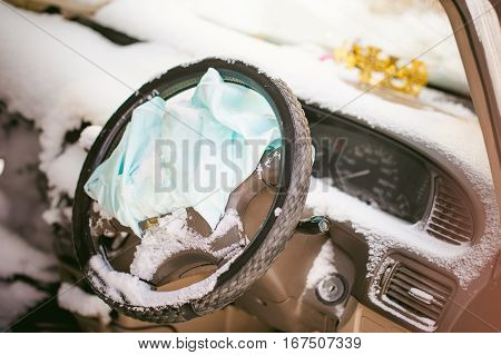 Accident Automobile. Salon Crashed Car Covered With Snow. Supplemental Restraint System