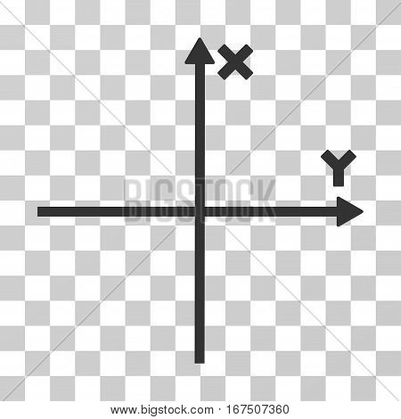 Cartesian Axes vector icon. Illustration style is flat iconic gray symbol on a transparent background.