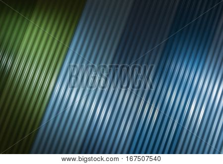 Green and blue metal cladding background diagonally set