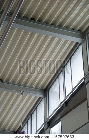 Corrugated hi bond steel profile forming a ceiling