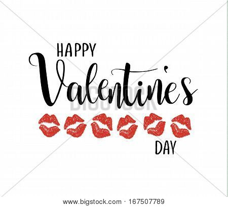 Happy valentine's day vector calligraphy lettering. Kissing lipstick prints.