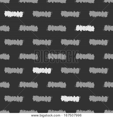 Ornament of the strips of painted rough brush. Seamless pattern. Grunge texture. Black gray white.