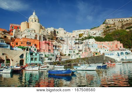 Procida colorful island in the gulf of Naples Mediterranean sea Southern Italy
