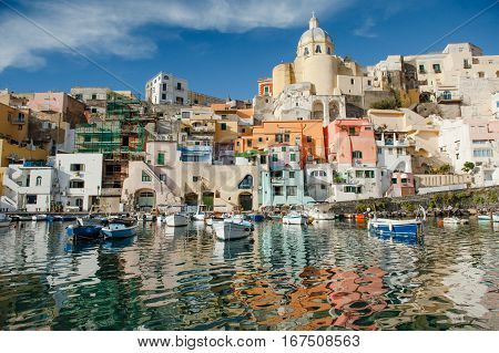 Scenic view of Procida island in Naples gulf Mediterranean sea Italy