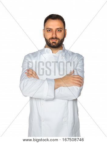 Young Chef On White Background.