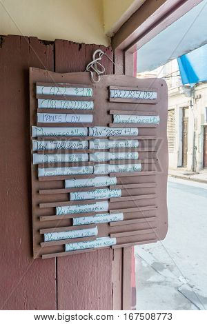 La Havana Cuba - December 25 2016: letter from a local restaurant exposed to street.