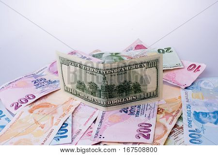 American Dollar Banknotes And Turksh Lira Banknotes Side By Side
