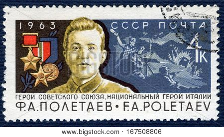 USSR - CIRCA 1963: Postage stamp  printed in USSR shows portrait of F. A. Poletaev, Hero of the Soviet Union, a national hero in Italy. circa 1963