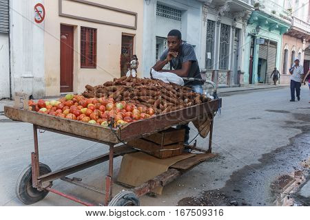 La Havana Cuba - December 25 2016: vegetables food seller on street