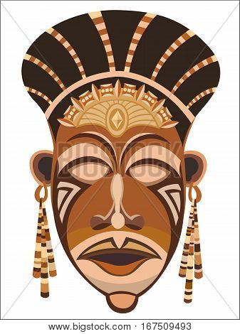 African women's indigenous tribal ethnic mask in PNG format