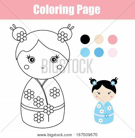 Coloring page with cute japanese kokeshi doll. Children educational game, drawing activity. Printable worksheet