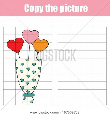 Grid copy game. Draw the picture educational children game. Printable Kids activity sheet with valentine bouquet