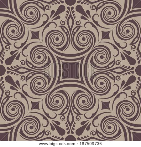 Seamless brown abstract floral swirly ornament pattern.