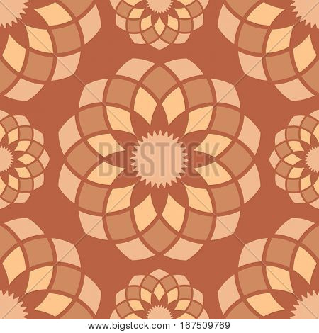 Seamless brown abstract ornamental flower buds pattern.