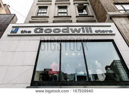 New York January 21 2017: Front window of a Goodwill store west 72 street in Manhattan.