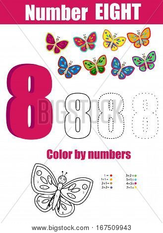 Handwriting practice. Learning mathematics and numbers. Number eight. Educational children game, printable worksheet for kids