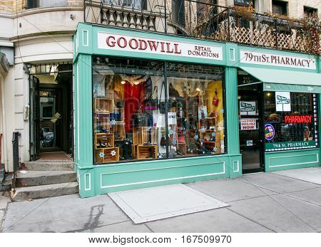 New York January 21 2017: Front of a Goodwill store on west 79 street in Manhattan.