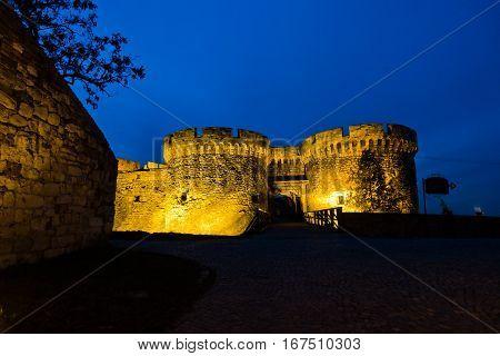 Tower and wooden bridge of Kalemegdan fortress at twilight in Belgrade, Serbia
