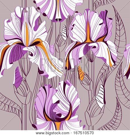 Seamless vector floral background with spring flowers. Iris flowers.