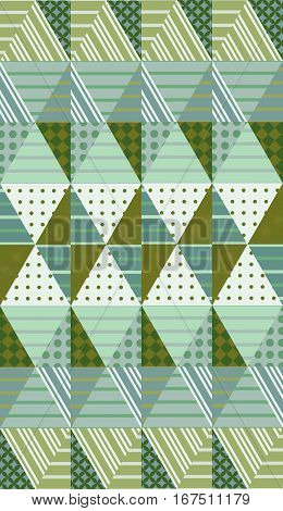 Ethnic Vector Background With Rhombuses. Seamless Patchwork Pattern In Summer Green Tones.