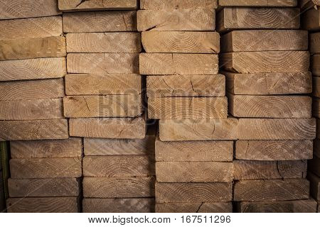 Stack of lumber used for framing a house