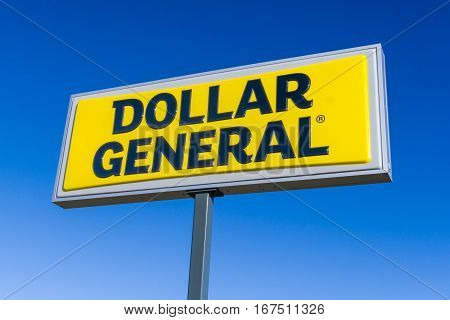 Dollar General Retail Store Exterior Sign And Logo.