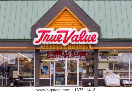 AMERY WI/USA - JANUARY 22 2017: True Value hardware store exterior and logo. The True Value Company is an American retailer-owned hardware cooperative.