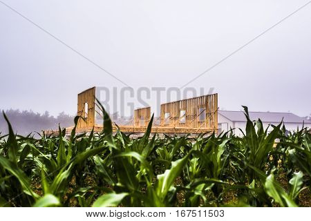 Raised wood wall at a house under construction