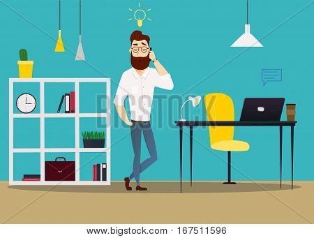 Vector business man characters in casual clothes. Image man with mobile phone with business icons on blue background.Illustration of businessman man in an office with office furniture