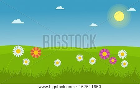 Landscape of flower spring vector collection stock