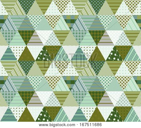 Green Seamless Patchwork Pattern. Vector Illustration Of Ethnic Quilt.