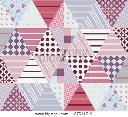 Ethnic Patchwork Pattern In Pink And Grey Tones. Seamless Background. Vector Illustration Of Quiltin