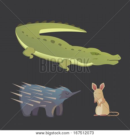 Australian animals vector crocodile, echidna and opossum isolated
