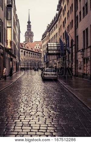 Dresden, Germany - 1 Jan. 2008: Narrow street next to the Zwinger in downtown Dresden on New Year's day.