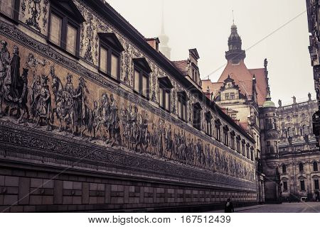 Dresden, Germany - 2 Jan. 2008: The Zwinger on a cold and snowy morning