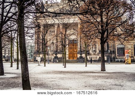 Dresden, Germany - 2 Jan. 2008: View of the courtyard at the Frauenkirche with a fresh layer of snow on the ground