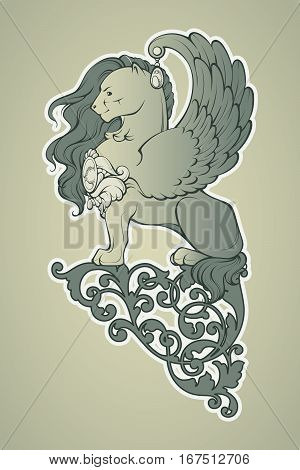 Vector retro illustration of a winged lion and ornament. Heraldry graphic.