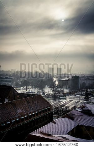 Skyline of Dresden Germany with a dramatic morning sky