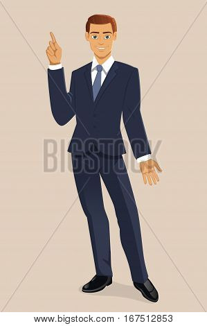 Vector Vertical Illustration of Smiling Young Businessman