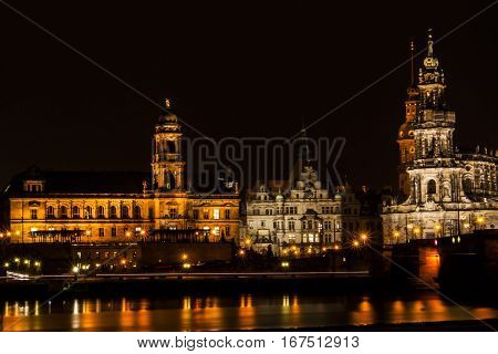 Skyline of Dresden Germany at nighttime with reflections