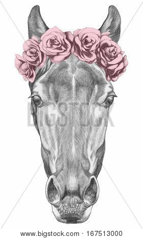Portrait of  Horse with floral head wreath. Hand drawn illustration.