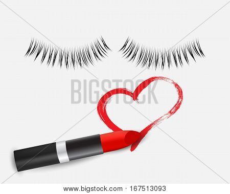 Realistic red lipstick, hand drawn heart and eyelashes isolated on white, vector illustration.