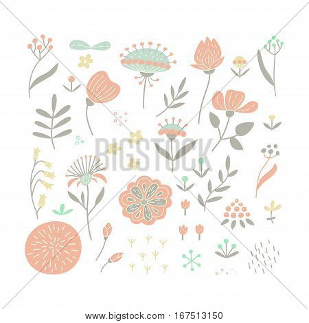 Hand drawn floral elements set in flat style. Perfect vector design elements for decorations floral pattern wrapping paper greeting card