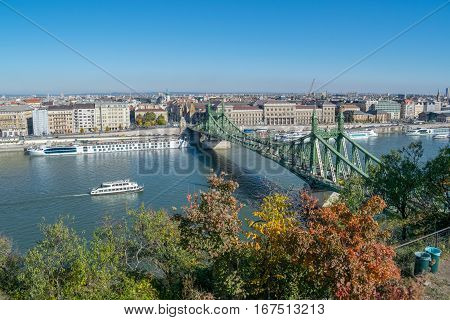 View Of The Danube River With Bastion And Bridge In Budapest