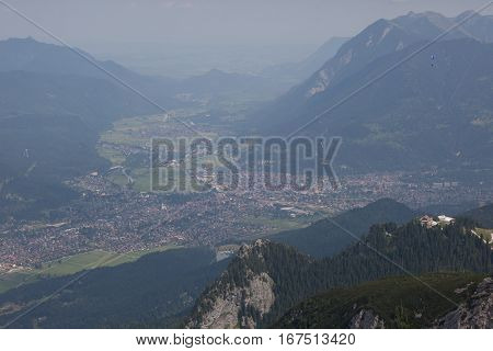 Stunning views of Garmich from the top of Zugspitze