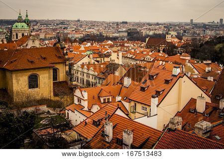 Skyline of Prague with many red tile rooftops