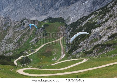 Paragliding from a mountain in Garmisch Partenkirchen