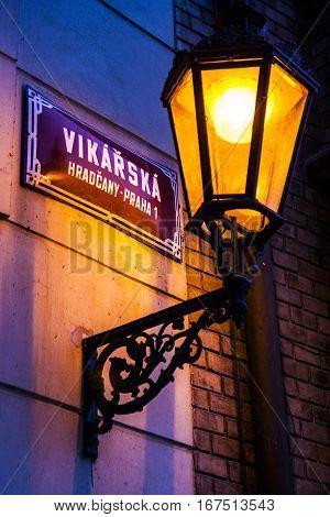 Old style street light in Prague Czech Republic
