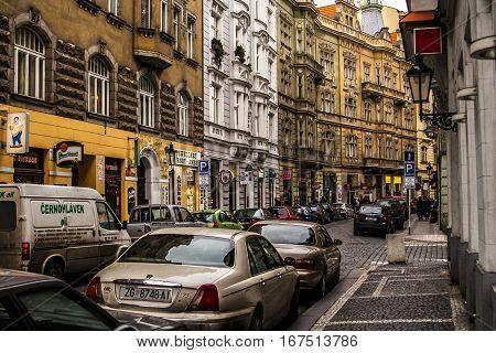 Prague Czech Republic - 4 January 2008: Cars parked on a narrow street near the Prague Castle